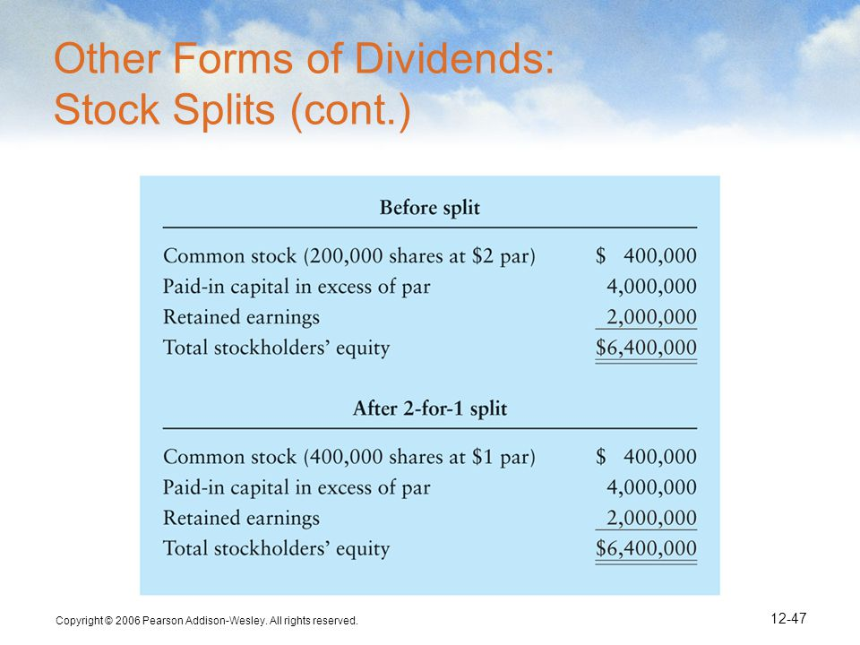 Copyright © 2006 Pearson Addison-Wesley. All rights reserved. 12-47 Other Forms of Dividends: Stock Splits (cont.)