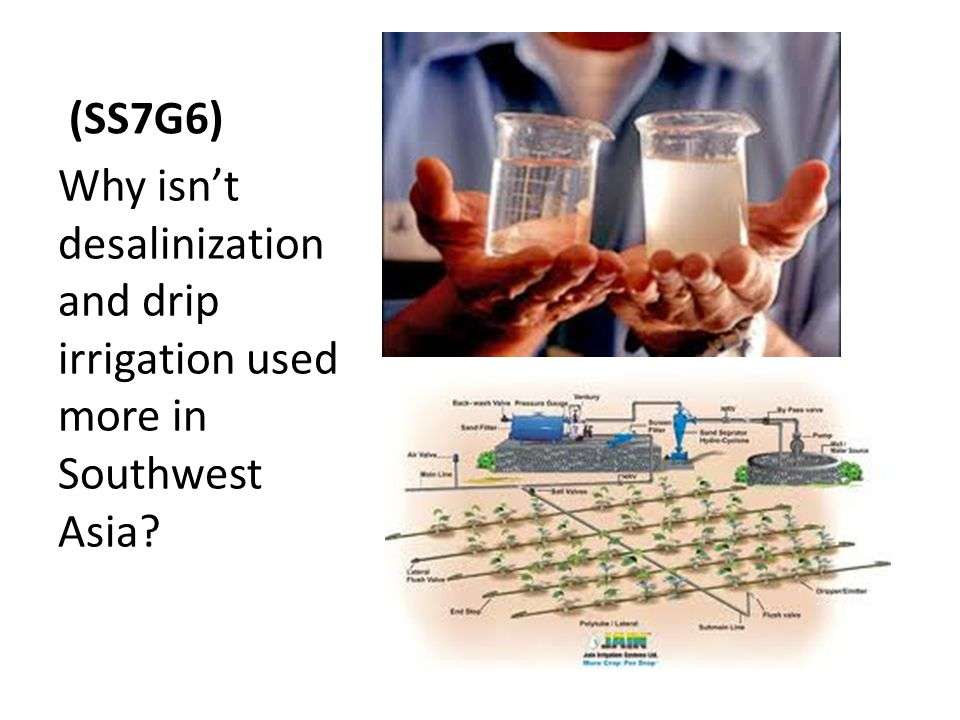 (SS7G6) Why isn't desalinization and drip irrigation used more in Southwest Asia?