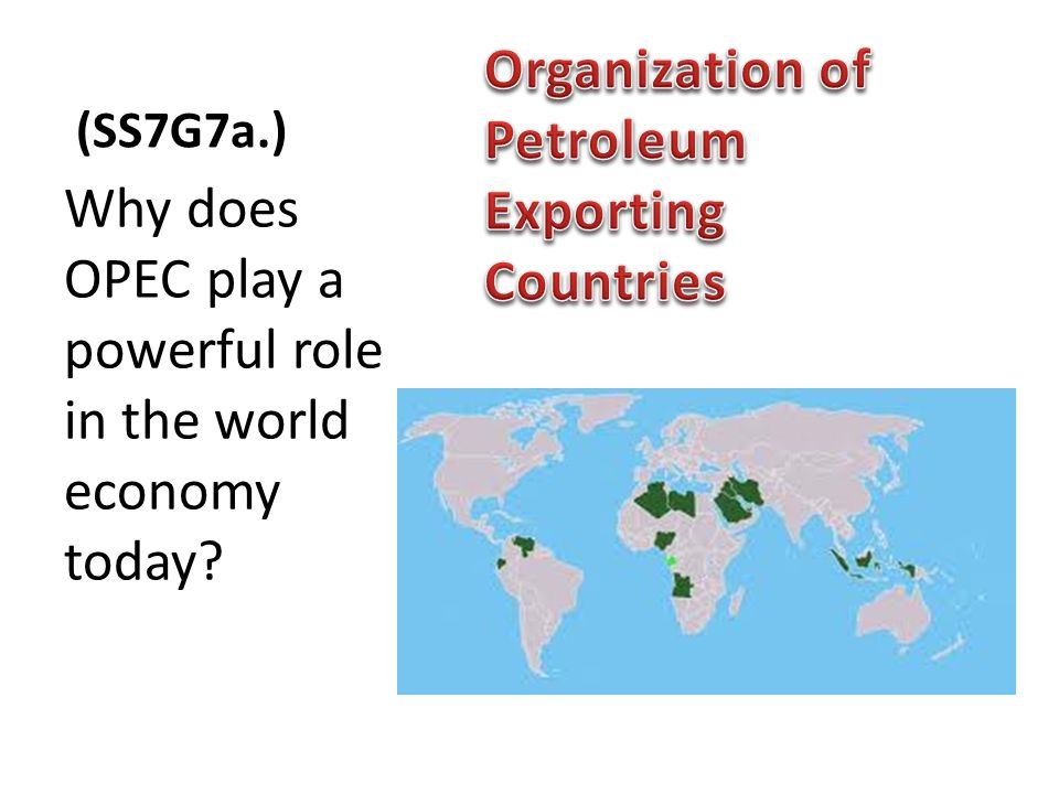(SS7G7a.) Why does OPEC play a powerful role in the world economy today?
