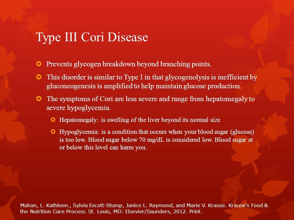Type III Cori Disease  Prevents glycogen breakdown beyond branching points.  This disorder is similar to Type I in that glycogenolysis is inefficien