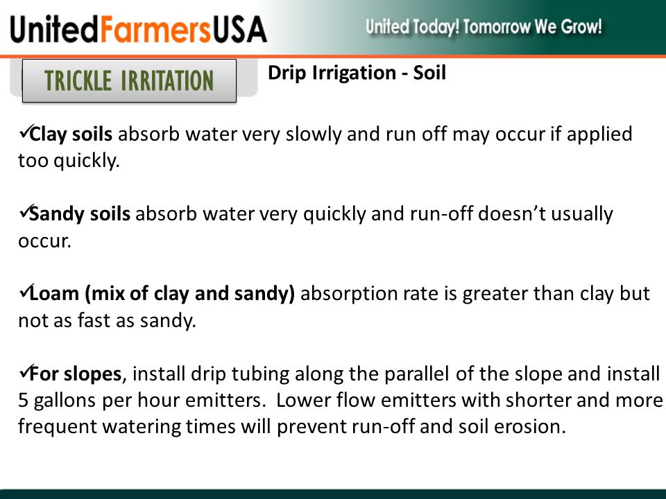 Clay soils absorb water very slowly and run off may occur if applied too quickly. Sandy soils absorb water very quickly and run-off doesn't usually oc