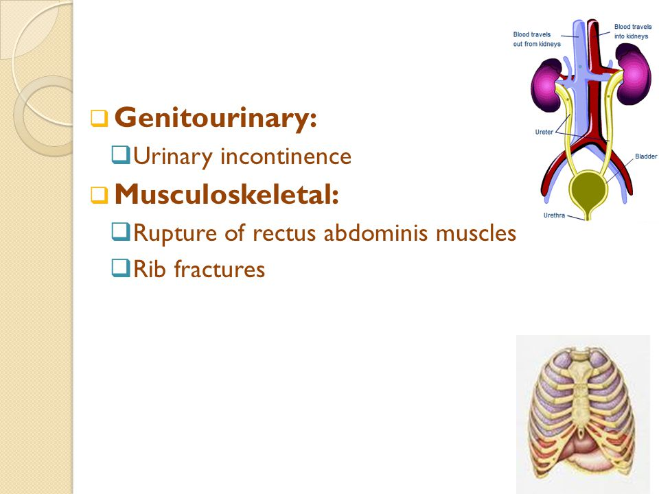  Genitourinary:  Urinary incontinence  Musculoskeletal:  Rupture of rectus abdominis muscles  Rib fractures