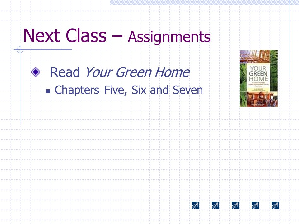 Next Class – Assignments Read Your Green Home Chapters Five, Six and Seven