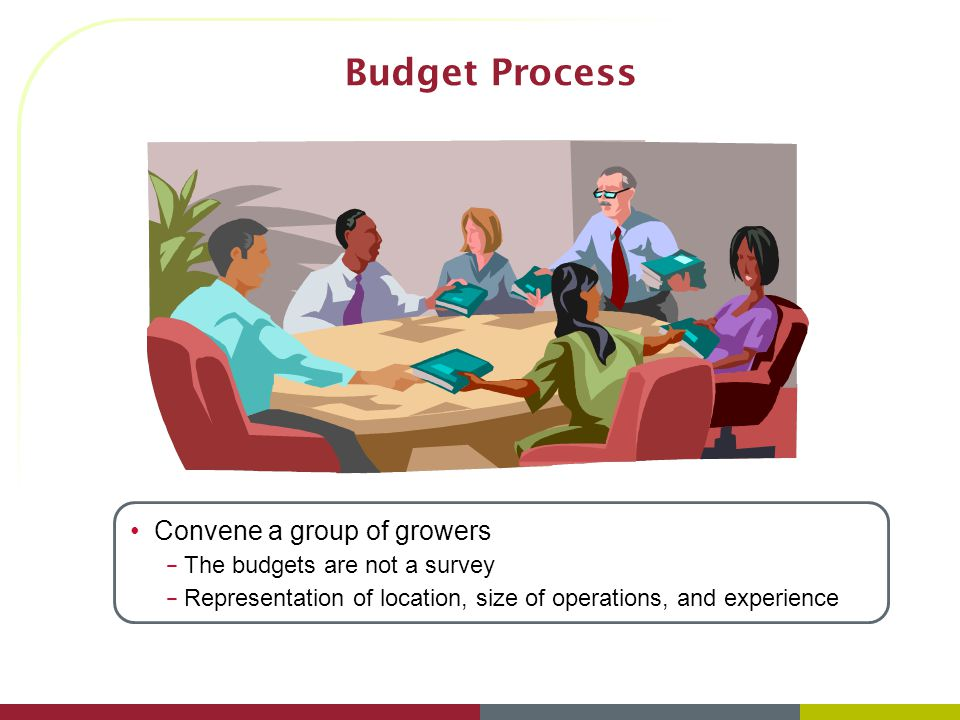 Budget Process (2) Determine the production scenario – Puts everyone on the same page when it comes to our assumptions