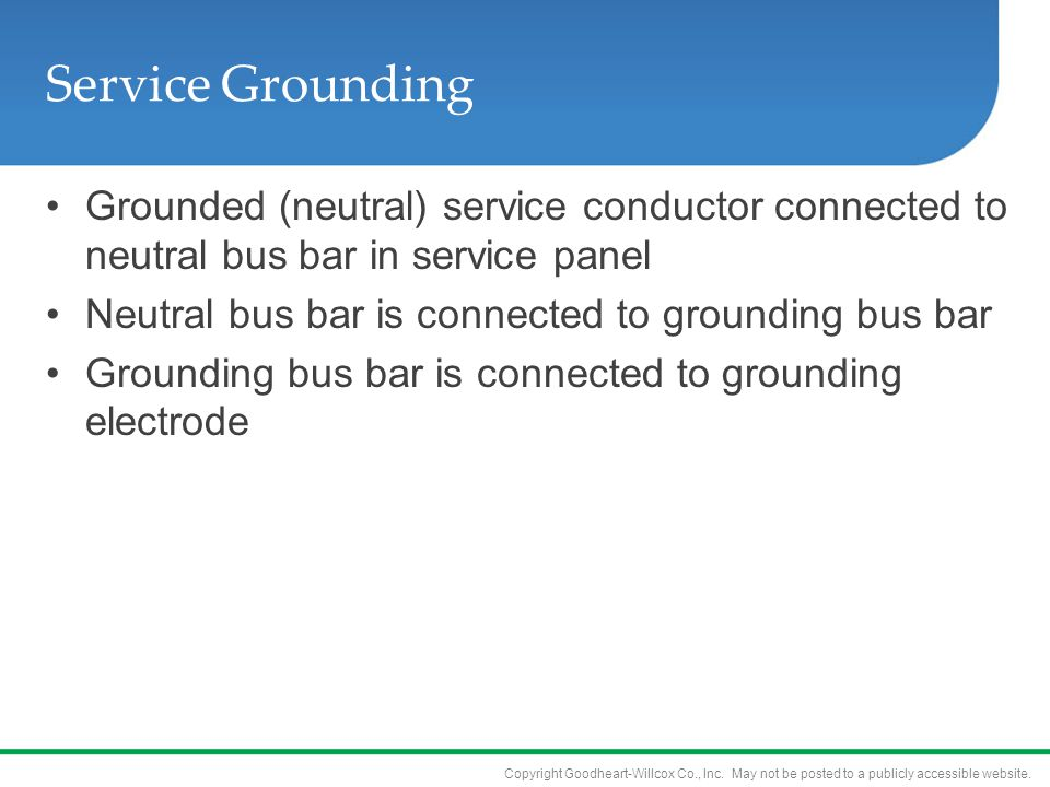 Copyright Goodheart-Willcox Co., Inc. May not be posted to a publicly accessible website. Service Grounding Grounded (neutral) service conductor conne