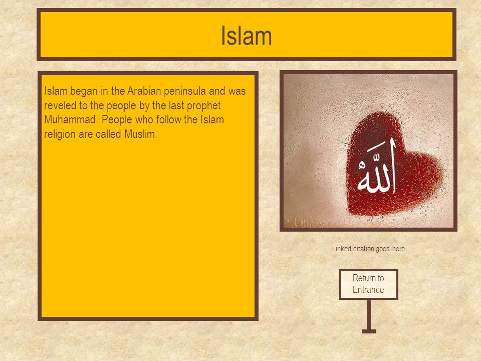 Linked citation goes here The Muslim people follow a strict set of rules. These are the five pillars of Islam. They need to follow these rules for the
