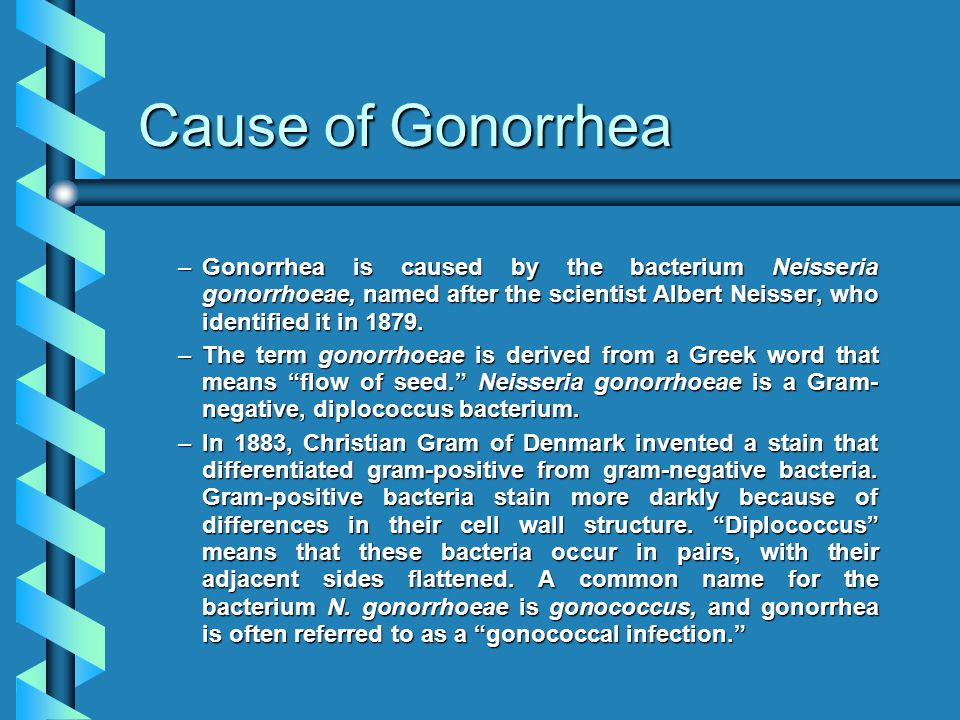 Cause of Gonorrhea –Gonorrhea is caused by the bacterium Neisseria gonorrhoeae, named after the scientist Albert Neisser, who identified it in 1879.