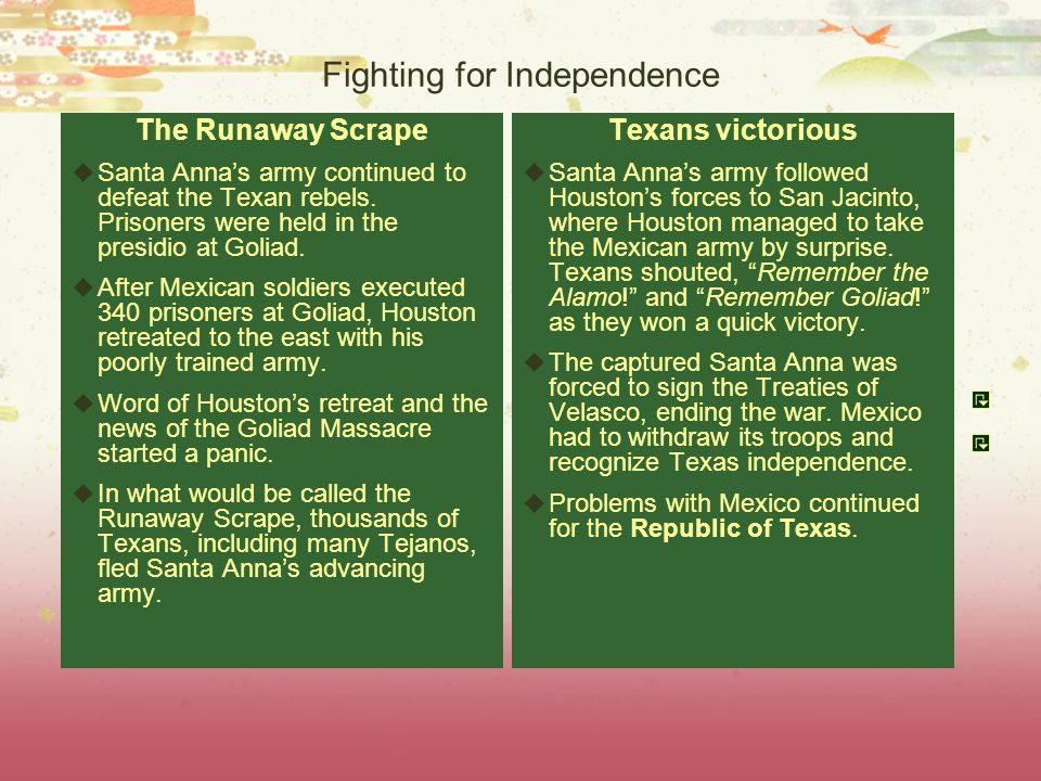 Fighting for Independence The Runaway Scrape  Santa Anna's army continued to defeat the Texan rebels.