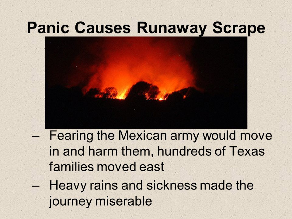 Panic Causes Runaway Scrape –Fearing the Mexican army would move in and harm them, hundreds of Texas families moved east –Heavy rains and sickness made the journey miserable