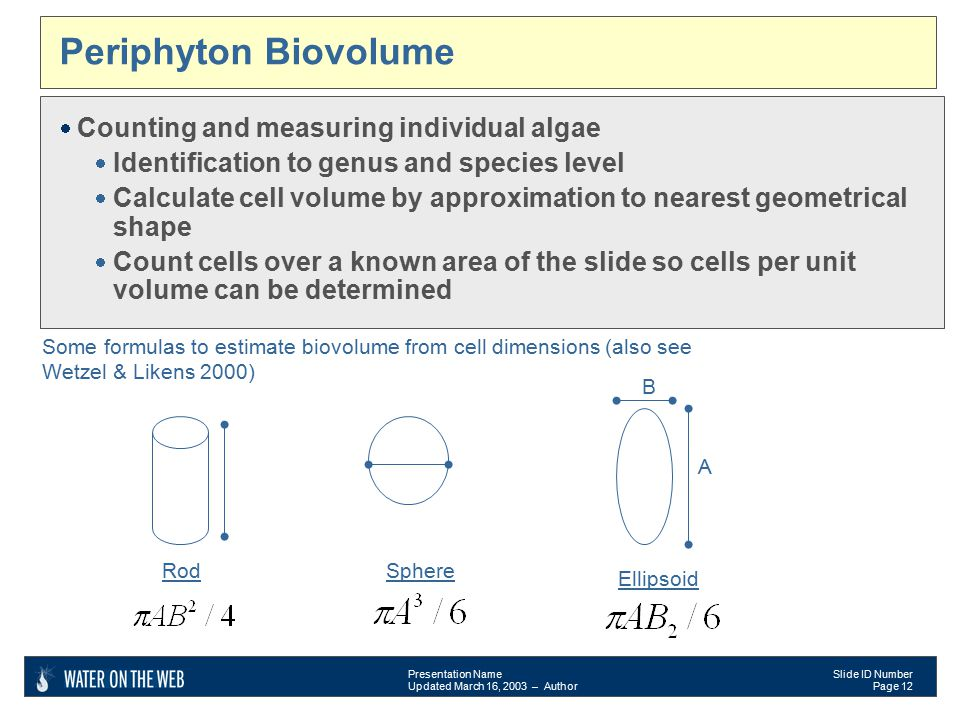 Presentation Name Updated March 16, 2003 – Author Slide ID Number Page 12 Periphyton Biovolume  Counting and measuring individual algae  Identification to genus and species level  Calculate cell volume by approximation to nearest geometrical shape  Count cells over a known area of the slide so cells per unit volume can be determined Rod B A Some formulas to estimate biovolume from cell dimensions (also see Wetzel & Likens 2000) Sphere A Ellipsoid B A