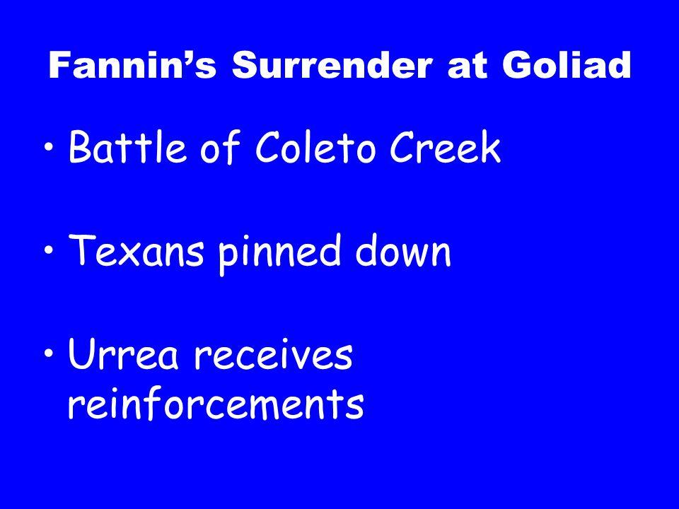 Fannin's Surrender at Goliad Battle of Coleto Creek Texans pinned down Urrea receives reinforcements
