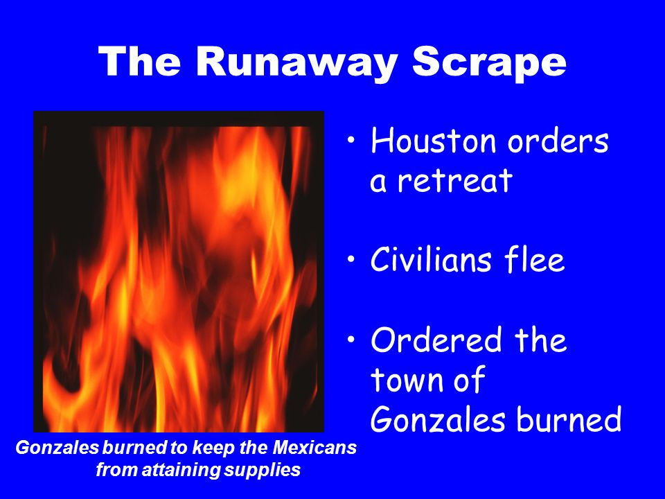The Runaway Scrape Houston orders a retreat Civilians flee Ordered the town of Gonzales burned Gonzales burned to keep the Mexicans from attaining sup
