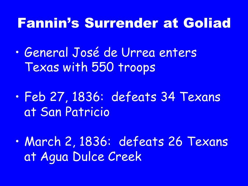 Fannin's Surrender at Goliad General José de Urrea enters Texas with 550 troops Feb 27, 1836: defeats 34 Texans at San Patricio March 2, 1836: defeats