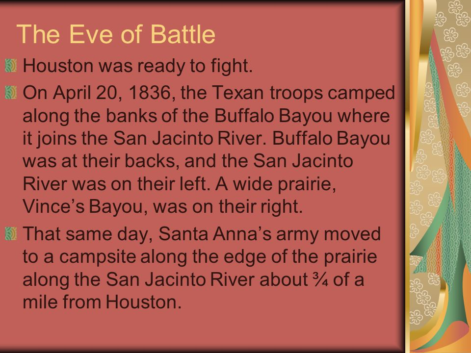 The Eve of Battle Houston was ready to fight.