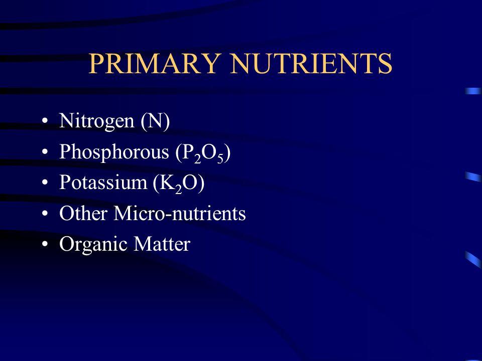 PRIMARY NUTRIENTS Nitrogen (N) Phosphorous (P 2 O 5 ) Potassium (K 2 O) Other Micro-nutrients Organic Matter
