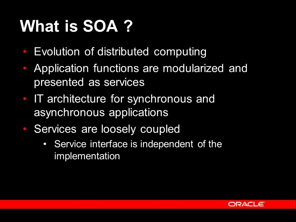 Interoperability of Web Services Web Services Interoperability Develops profiles Suggests best practices Provides testing tools Runtime and tools uptake Oracle JDeveloper analysis OracleAS compliance