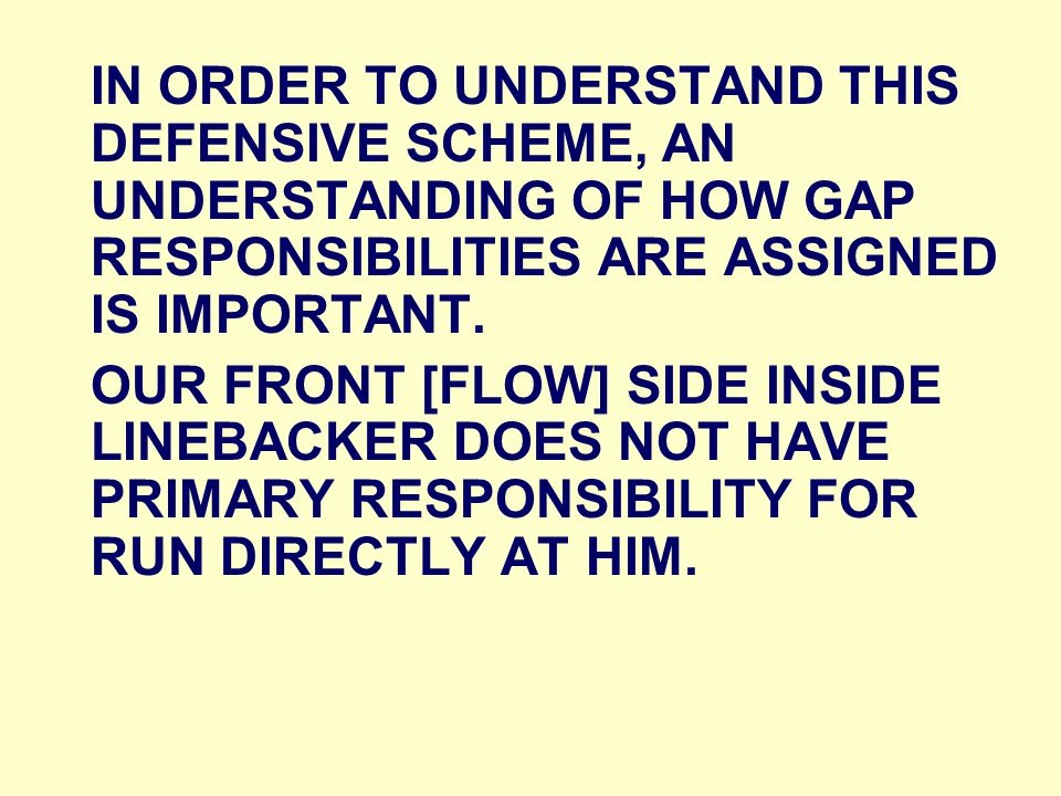 IN ORDER TO UNDERSTAND THIS DEFENSIVE SCHEME, AN UNDERSTANDING OF HOW GAP RESPONSIBILITIES ARE ASSIGNED IS IMPORTANT.