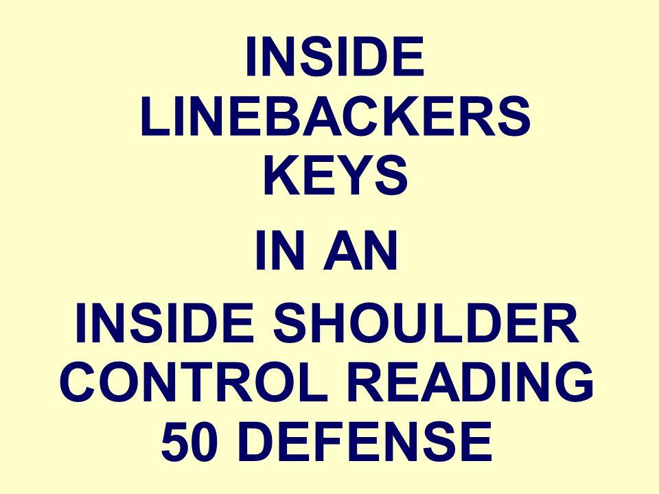 INSIDE LINEBACKERS KEYS IN AN INSIDE SHOULDER CONTROL READING 50 DEFENSE