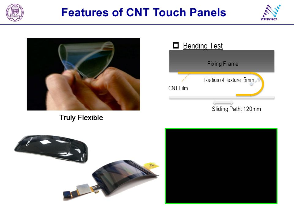 Features of CNT Touch Panels Pen Pitting Durability TestScrape Durability Test Weight: 500g Pen size: 0.8mm (diameter) Frequency: 3 knocks/sec.