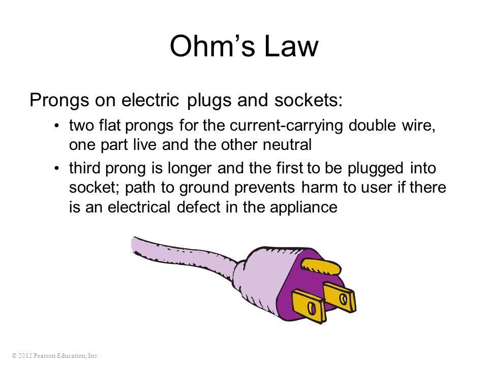 © 2012 Pearson Education, Inc. Ohm's Law Prongs on electric plugs and sockets: two flat prongs for the current-carrying double wire, one part live and