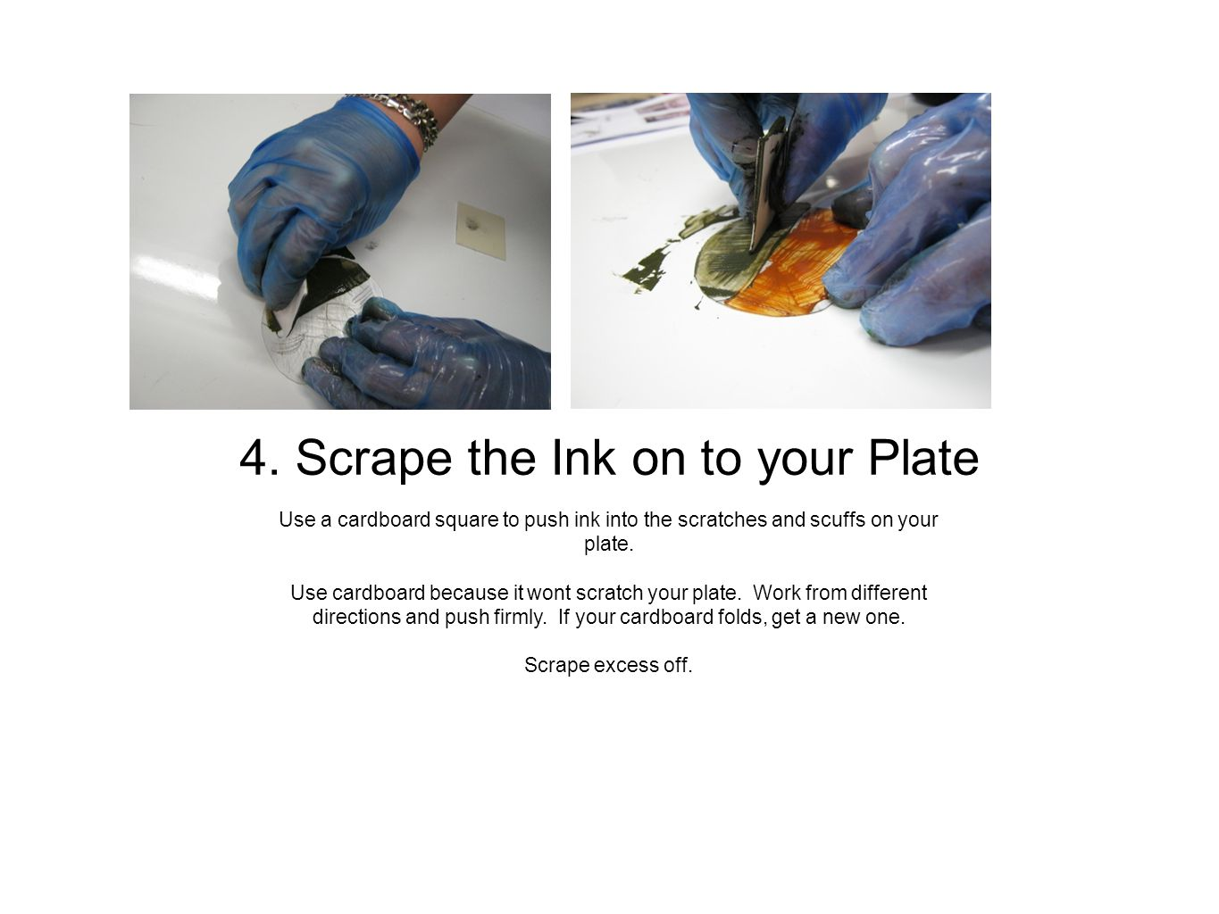Use one sheet of phonebook paper held flat against the plate surface.