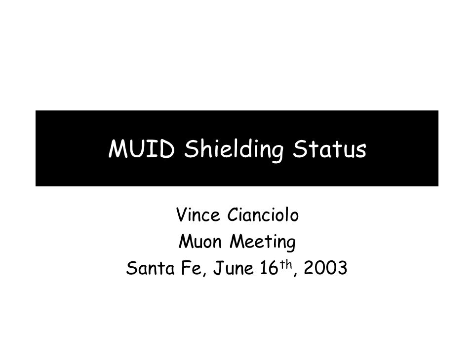 MUID Shielding Status Vince Cianciolo Muon Meeting Santa Fe, June 16 th, 2003