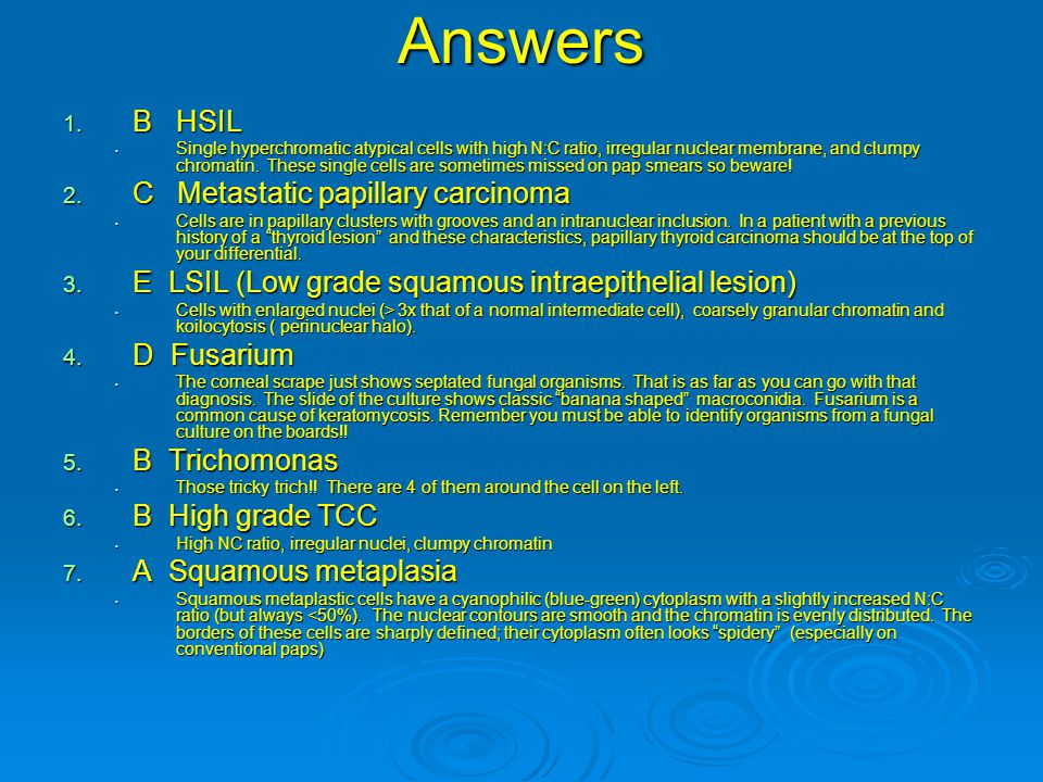 Answers 1. B HSIL Single hyperchromatic atypical cells with high N:C ratio, irregular nuclear membrane, and clumpy chromatin. These single cells are s