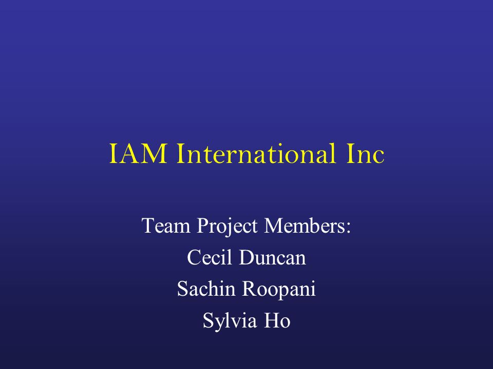 IAM International Inc Team Project Members: Cecil Duncan Sachin Roopani Sylvia Ho