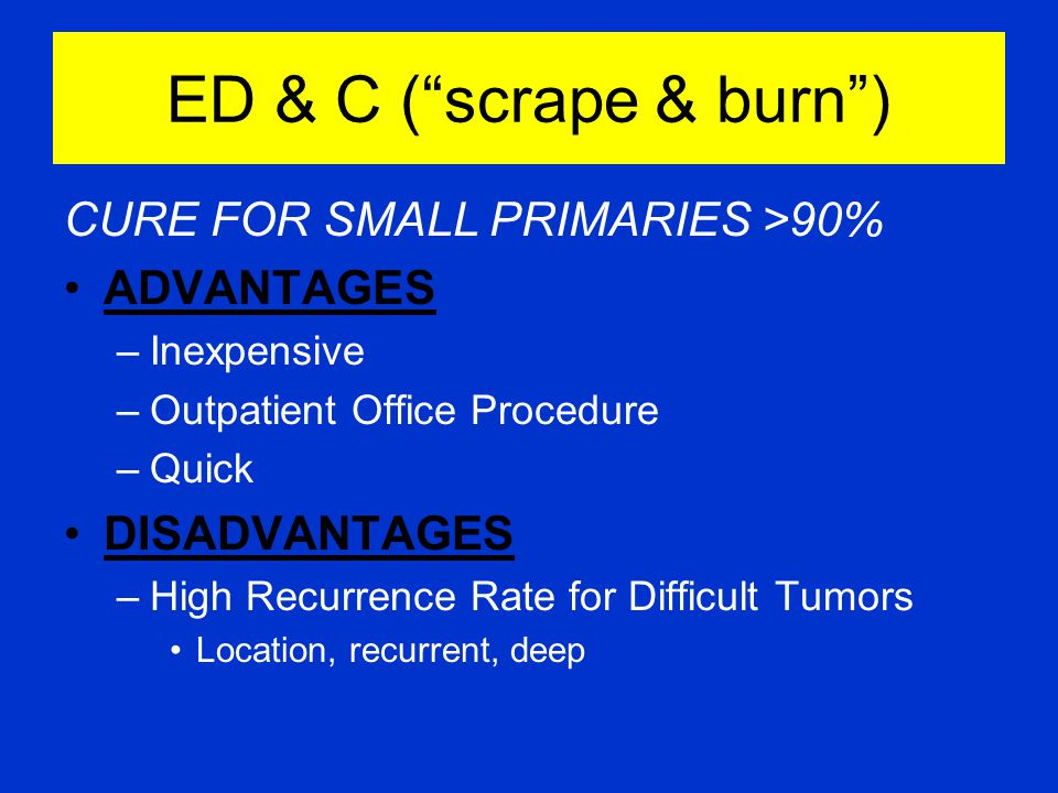 ED & C ( scrape & burn ) CURE FOR SMALL PRIMARIES >90% ADVANTAGES –Inexpensive –Outpatient Office Procedure –Quick DISADVANTAGES –High Recurrence Rate for Difficult Tumors Location, recurrent, deep