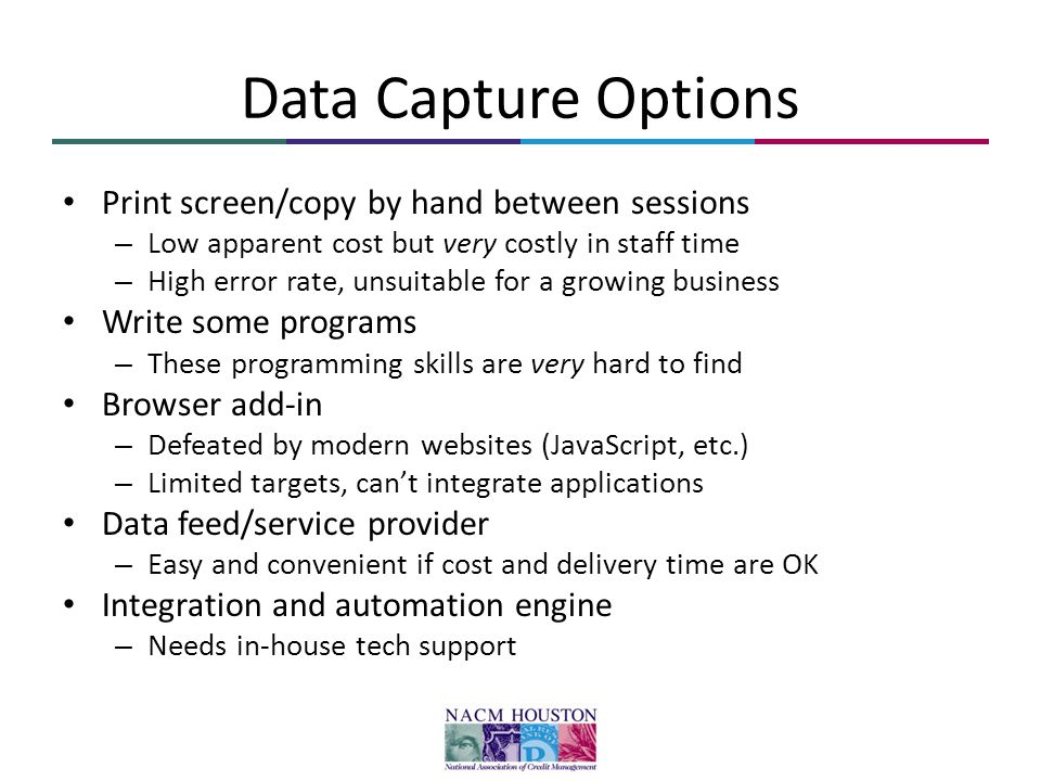Data Capture Options Print screen/copy by hand between sessions – Low apparent cost but very costly in staff time – High error rate, unsuitable for a