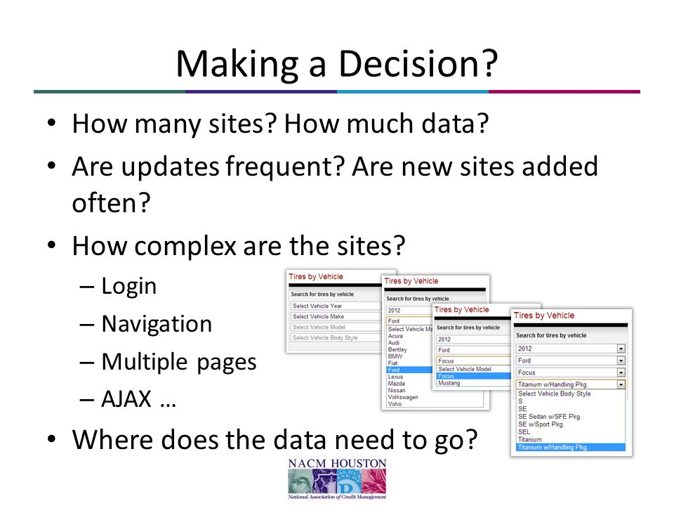 Making a Decision. How many sites. How much data.