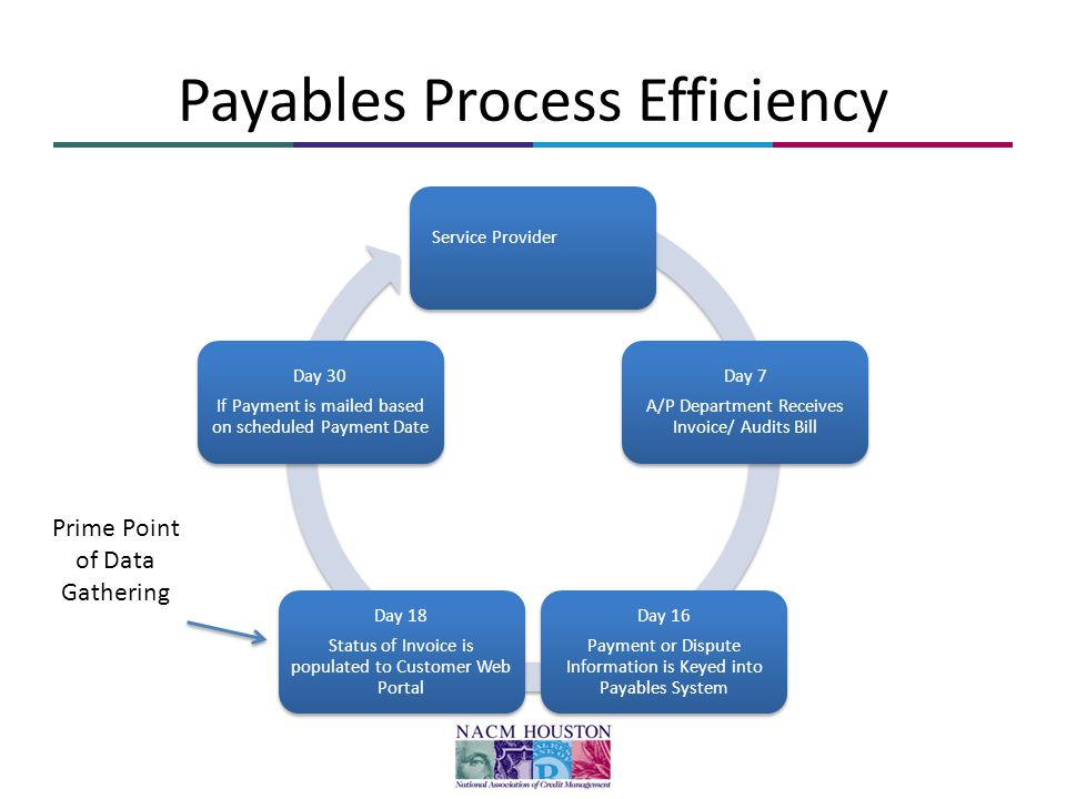 Payables Process Efficiency Service Provider Day 7 A/P Department Receives Invoice/ Audits Bill Day 16 Payment or Dispute Information is Keyed into Payables System Day 18 Status of Invoice is populated to Customer Web Portal Day 30 If Payment is mailed based on scheduled Payment Date Prime Point of Data Gathering