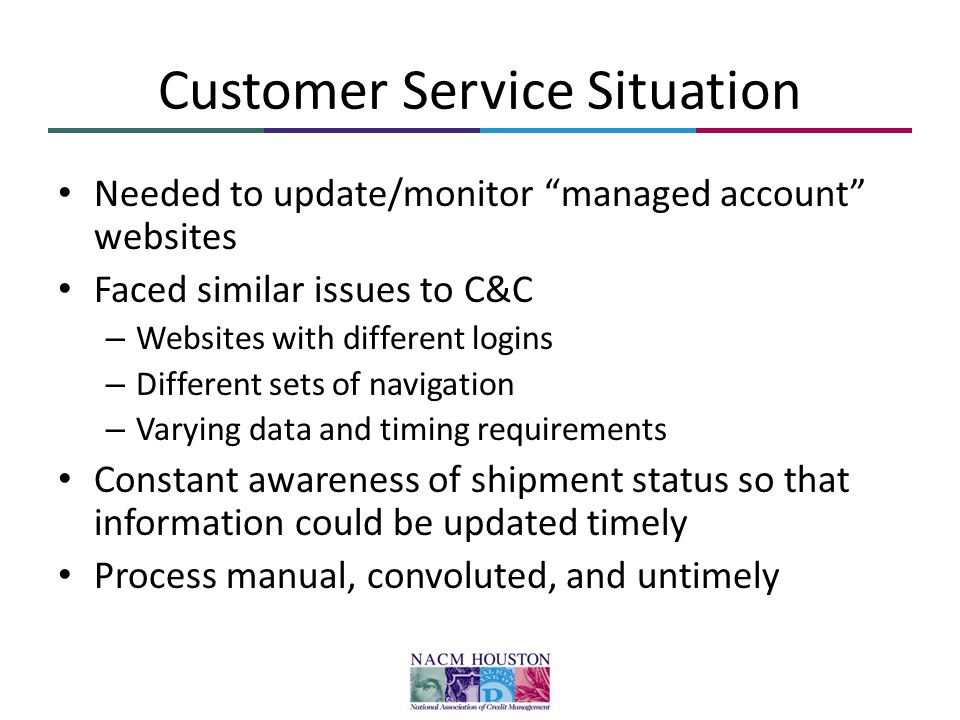 Customer Service Situation Needed to update/monitor managed account websites Faced similar issues to C&C – Websites with different logins – Different sets of navigation – Varying data and timing requirements Constant awareness of shipment status so that information could be updated timely Process manual, convoluted, and untimely