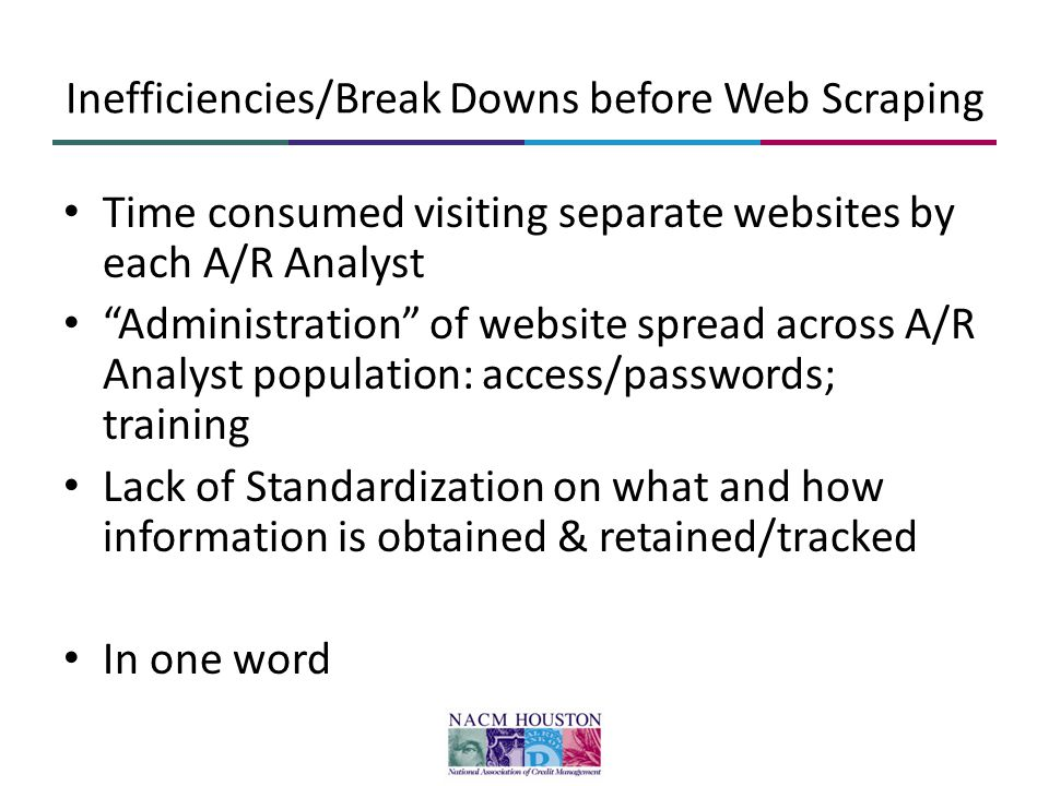 "Inefficiencies/Break Downs before Web Scraping Time consumed visiting separate websites by each A/R Analyst ""Administration"" of website spread across"