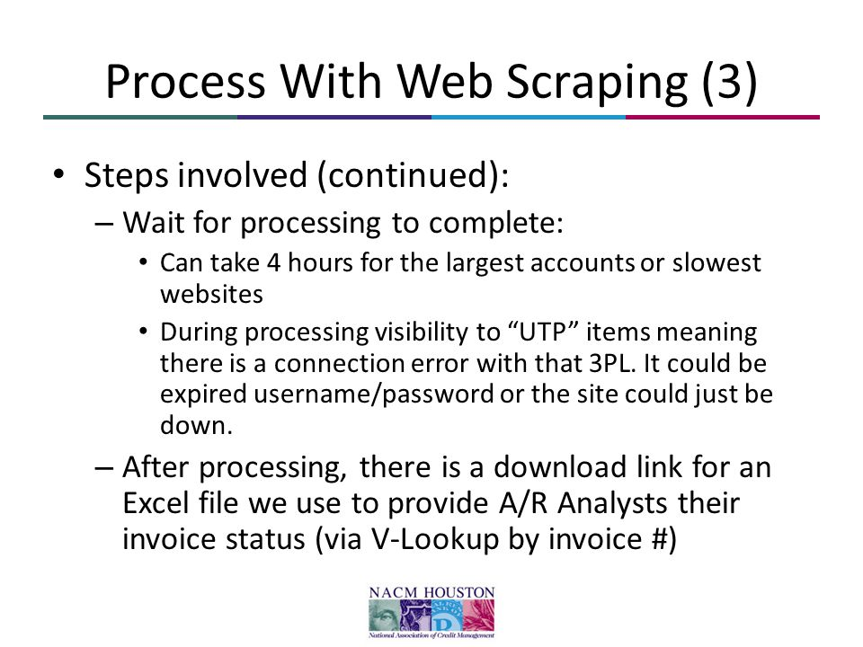Process With Web Scraping (3) Steps involved (continued): – Wait for processing to complete: Can take 4 hours for the largest accounts or slowest webs