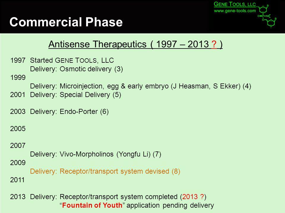 Commercial Phase Antisense Therapeutics ( 1997 – 2013 .