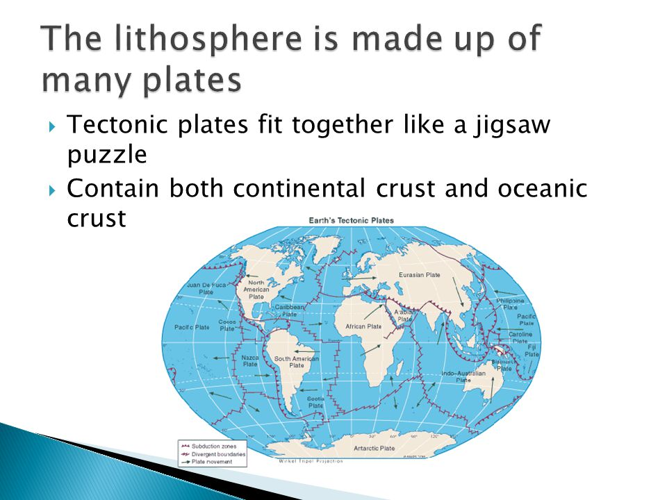  Theory of plate tectonics: Earth's lithosphere is made of huge plates that move over the surface of the earth.
