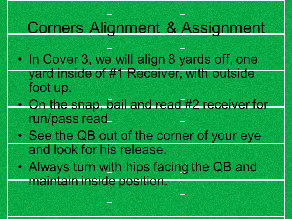 Corners Alignment & Assignment In Cover 3, we will align 8 yards off, one yard inside of #1 Receiver, with outside foot up.