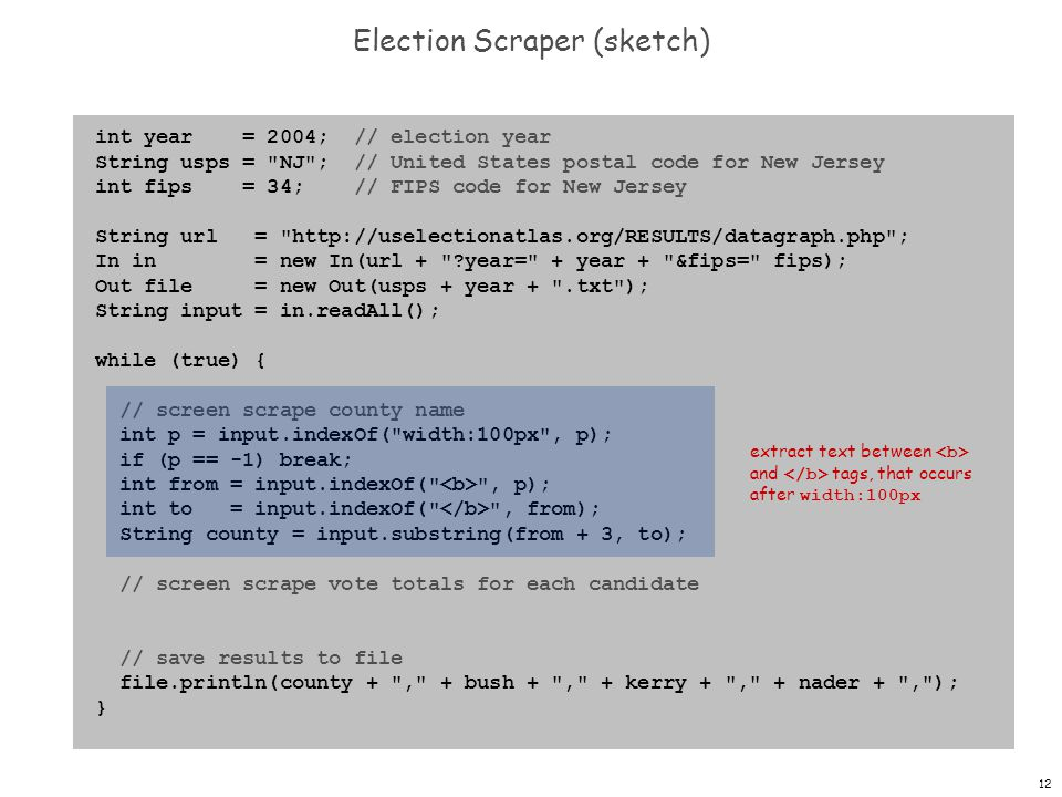 12 Election Scraper (sketch) int year = 2004; // election year String usps = NJ ; // United States postal code for New Jersey int fips = 34; // FIPS code for New Jersey String url = http://uselectionatlas.org/RESULTS/datagraph.php ; In in = new In(url + year= + year + &fips= fips); Out file = new Out(usps + year + .txt ); String input = in.readAll(); while (true) { // screen scrape county name int p = input.indexOf( width:100px , p); if (p == -1) break; int from = input.indexOf( , p); int to = input.indexOf( , from); String county = input.substring(from + 3, to); // screen scrape vote totals for each candidate // save results to file file.println(county + , + bush + , + kerry + , + nader + , ); } extract text between and tags, that occurs after width:100px