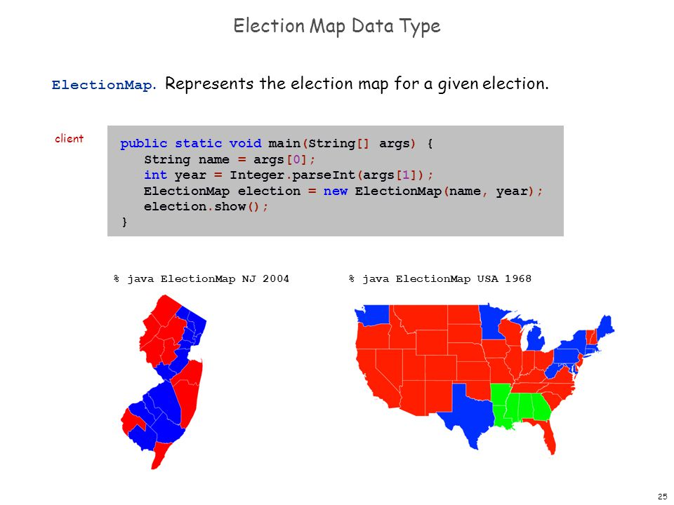 25 Election Map Data Type ElectionMap. Represents the election map for a given election.