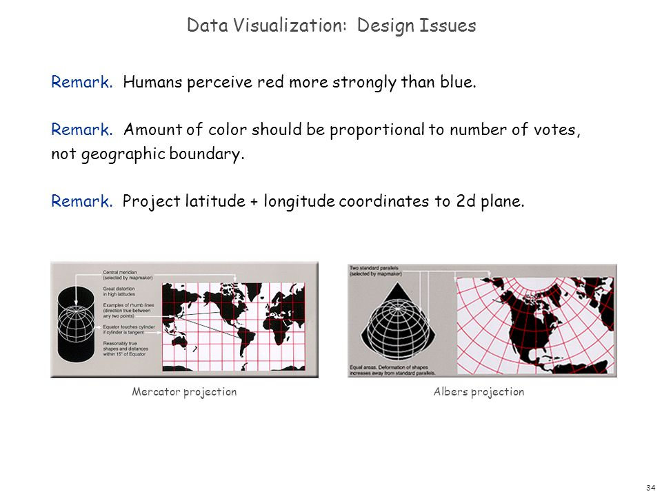 34 Data Visualization: Design Issues Remark. Humans perceive red more strongly than blue.