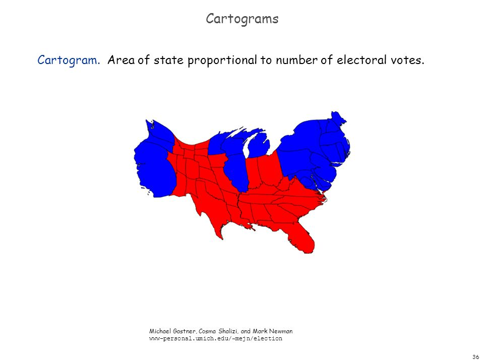36 Cartograms Cartogram. Area of state proportional to number of electoral votes. Michael Gastner, Cosma Shalizi, and Mark Newman www-personal.umich.e