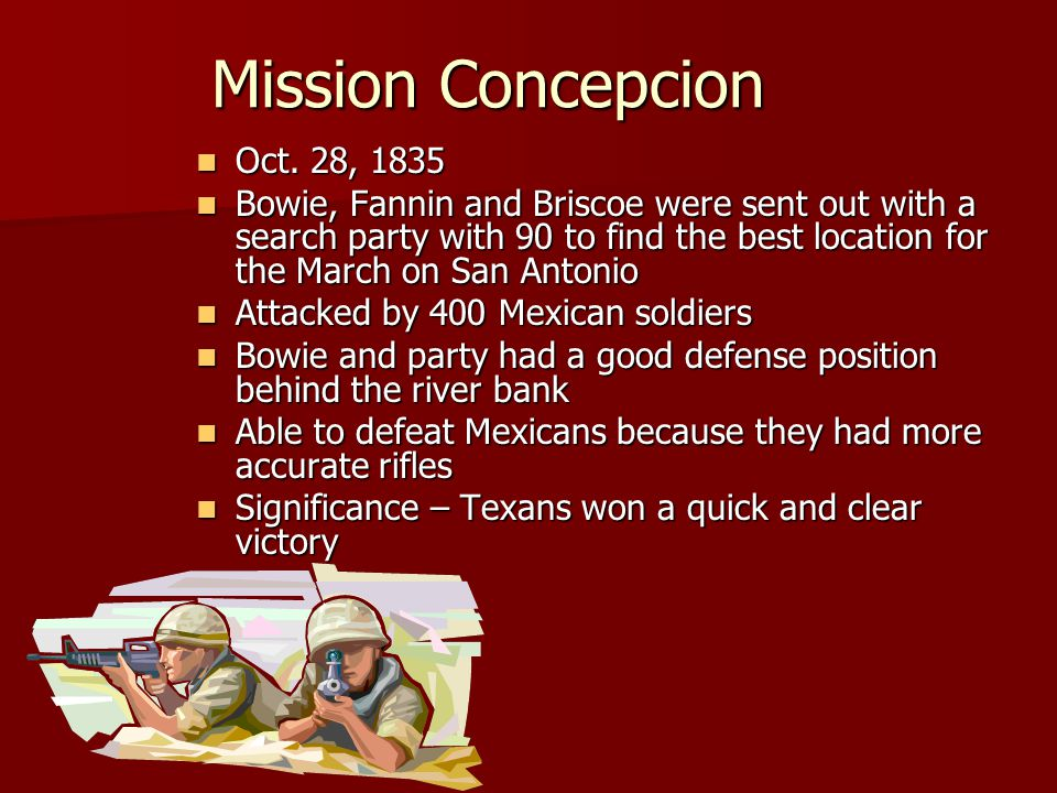 Mission Concepcion Oct.28, 1835 Oct.