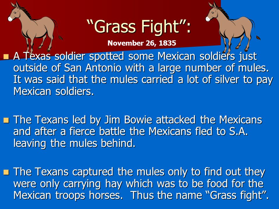 Grass Fight : A Texas soldier spotted some Mexican soldiers just outside of San Antonio with a large number of mules.
