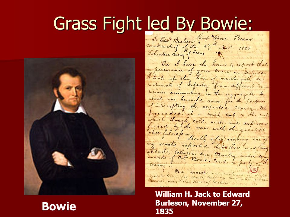 Grass Fight led By Bowie: William H. Jack to Edward Burleson, November 27, 1835 Bowie