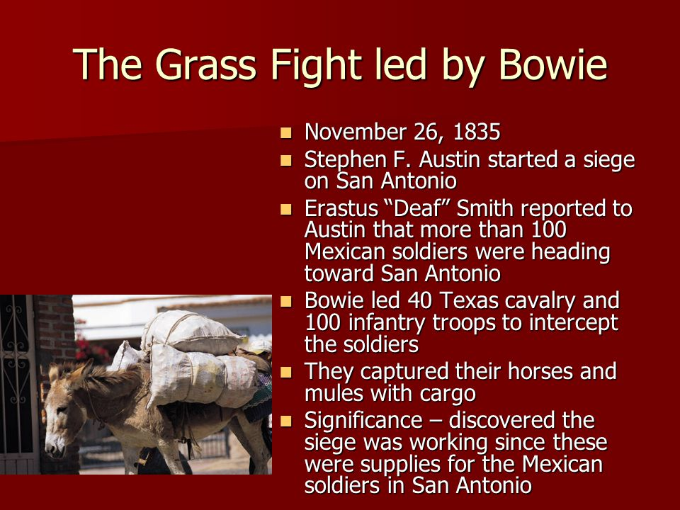 The Grass Fight led by Bowie November 26, 1835 November 26, 1835 Stephen F.
