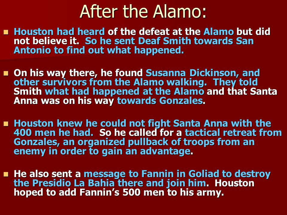 After the Alamo: Houston had heard of the defeat at the Alamo but did not believe it.