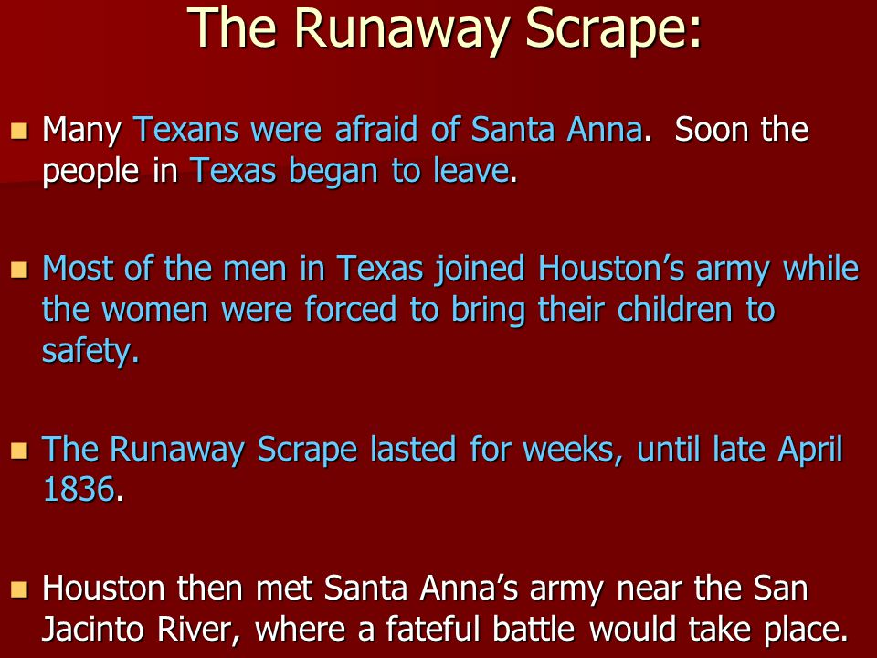 The Runaway Scrape: Many Texans were afraid of Santa Anna.