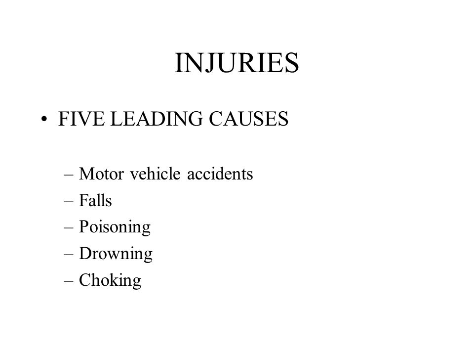 INJURIES FIVE LEADING CAUSES –Motor vehicle accidents –Falls –Poisoning –Drowning –Choking