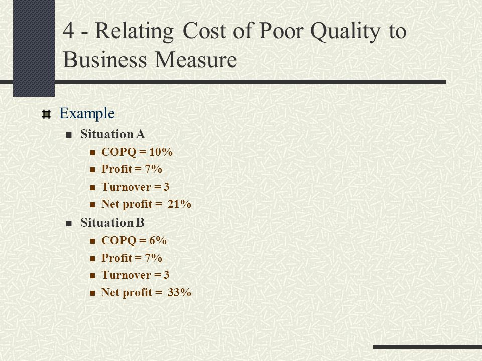 4 - Relating Cost of Poor Quality to Business Measure Example Situation A COPQ = 10% Profit = 7% Turnover = 3 Net profit = 21% Situation B COPQ = 6% P